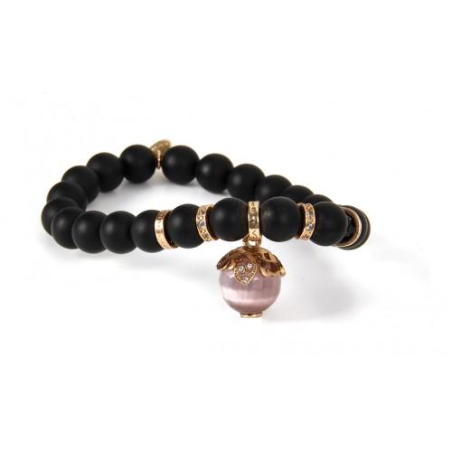 Onyx With Cat S Eye Stone Bracelet Silver Cz Brb96 2
